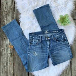 7 For All Mankind Straight Leg Distressed Jeans